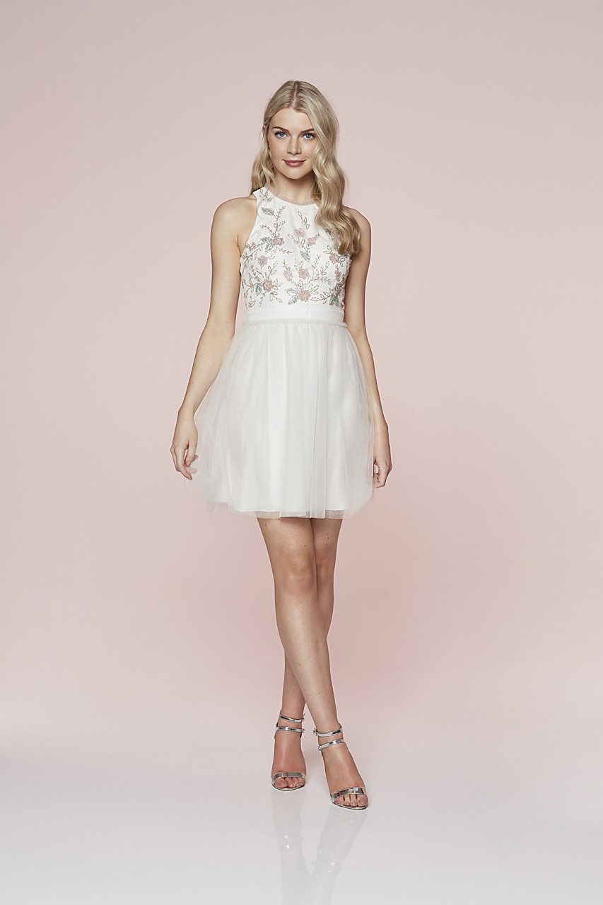 Beaded Bloom Tulle Dress