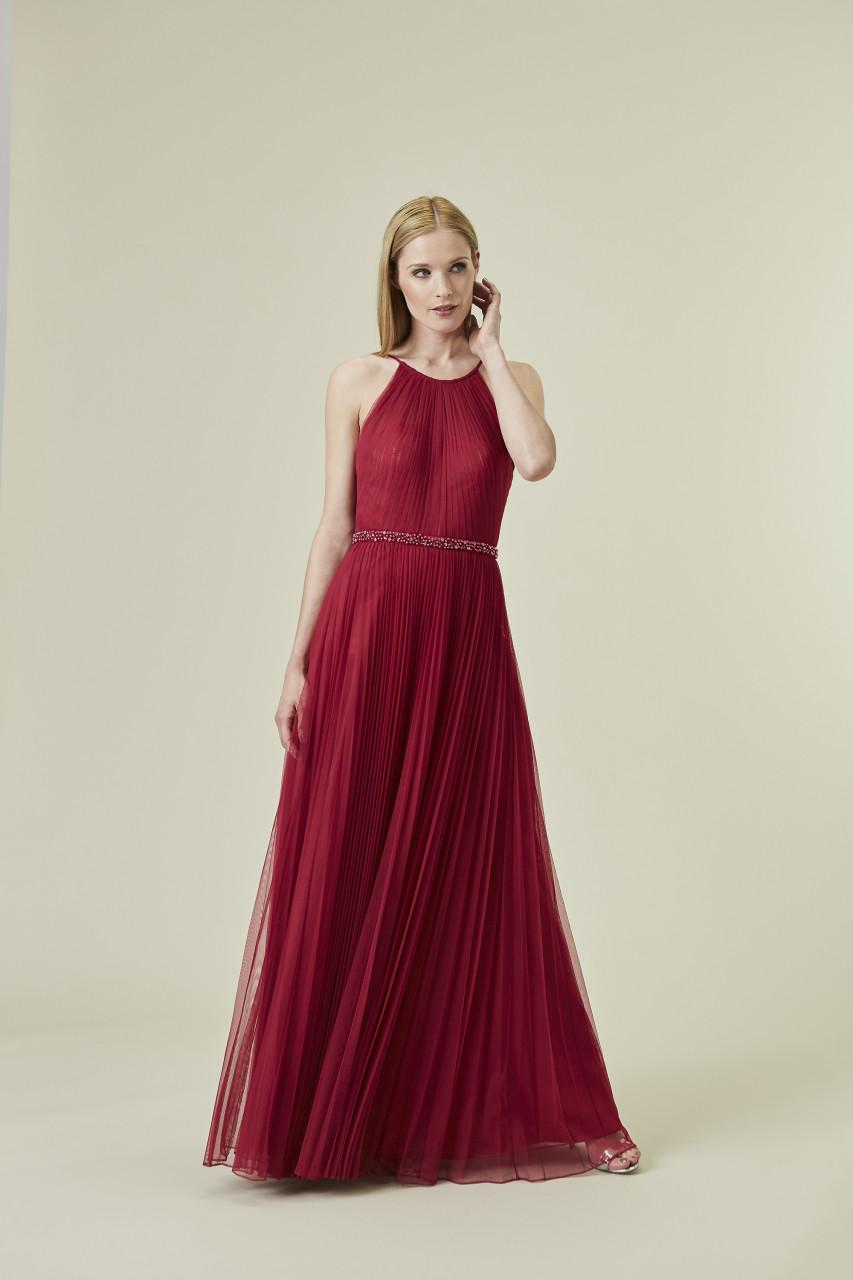 Pleated Mesh Maxi Dress